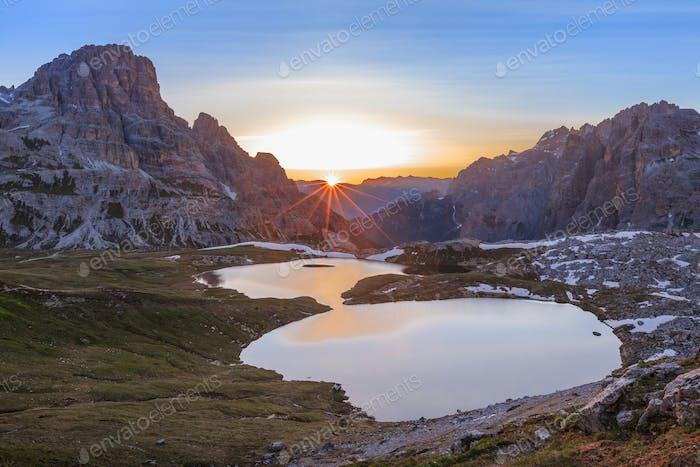 Italy Alps Dolomites. Lago dei Piani
