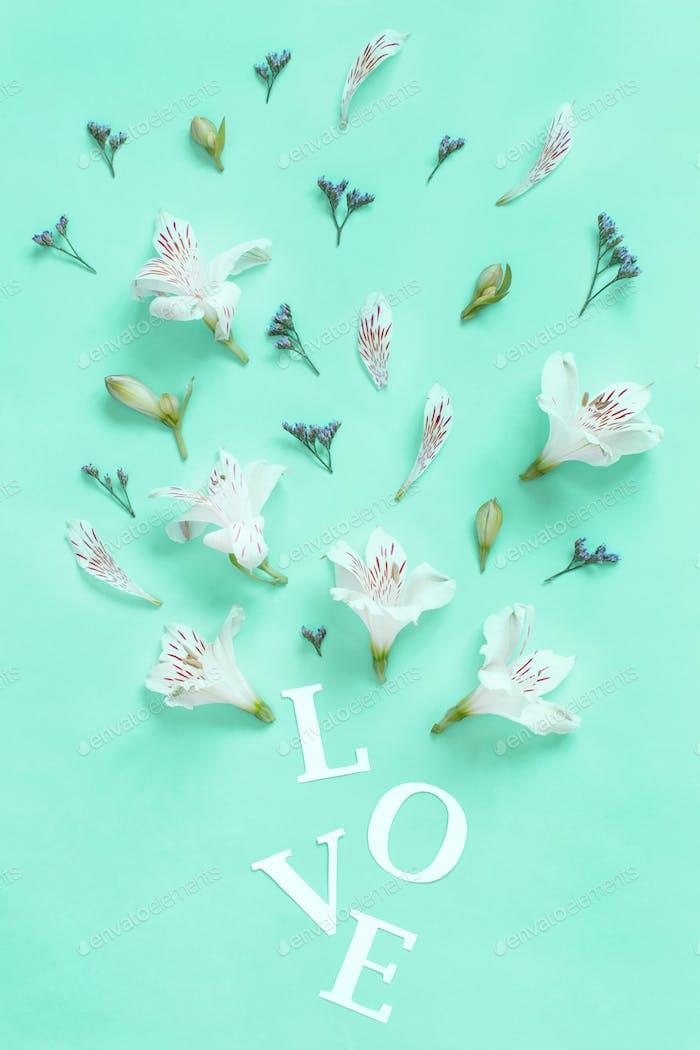 Blumen und Wort LIEBE auf hellgrünem Hintergrund