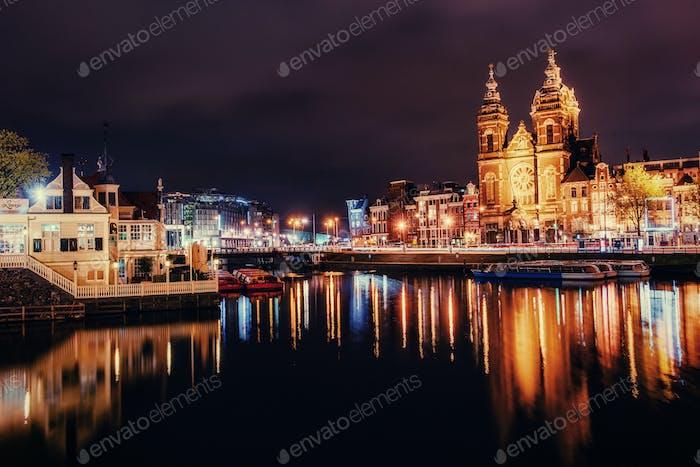 Beautiful night in Amsterdam.  illumination
