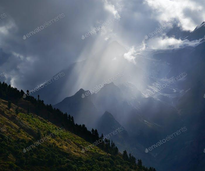 Sunbeam in mountains