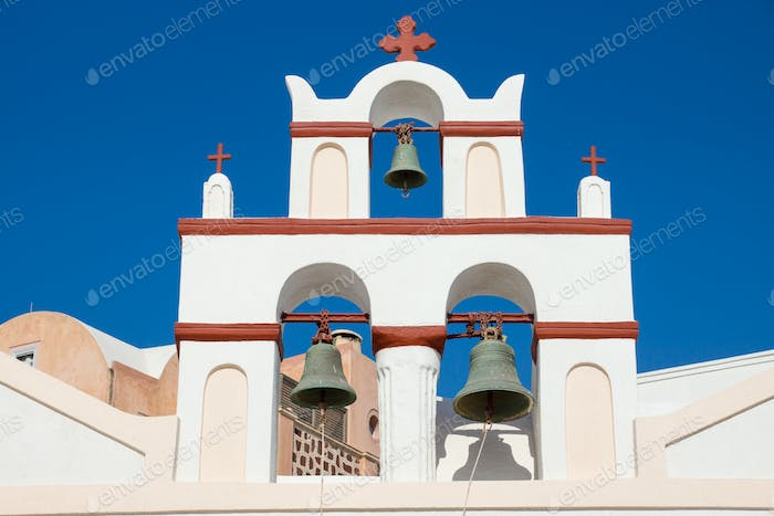 Small belltower of a church in Oia