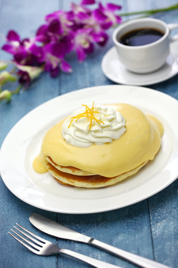 homemade lilikoi passion fruit pancake, Hawaiian food