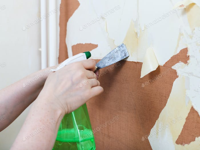 Removing of old wallpaper with chemical stripper