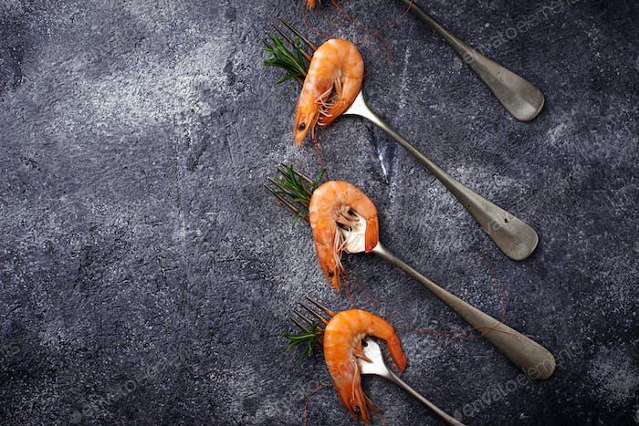 Prawns shrimps on the fork