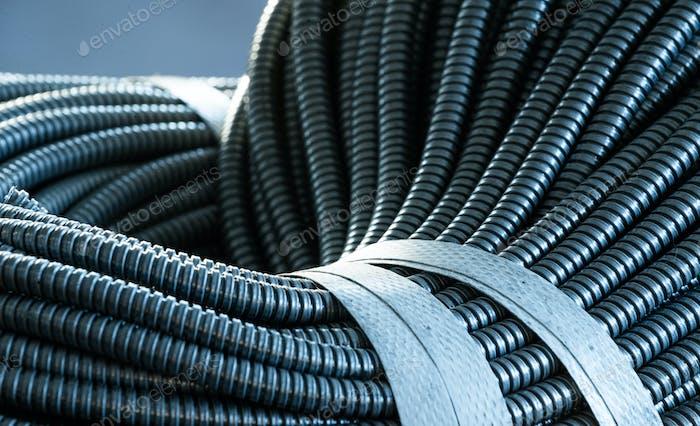 Huge bunch of metal flexible shield tubes