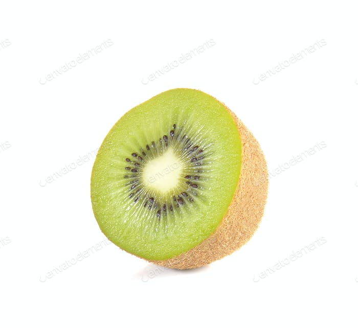 Kiwi cut pieces on white background.