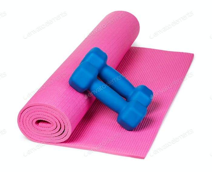 Yoga mat and dumbbells