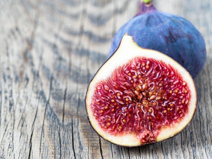 a fresh Fig and cut off half