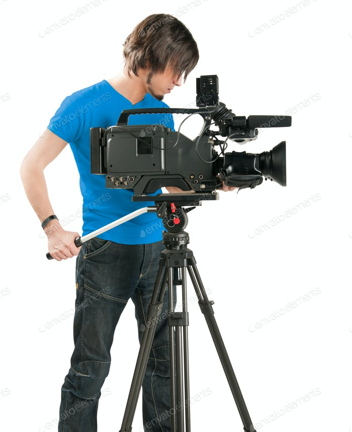 Professional cameraman on white background