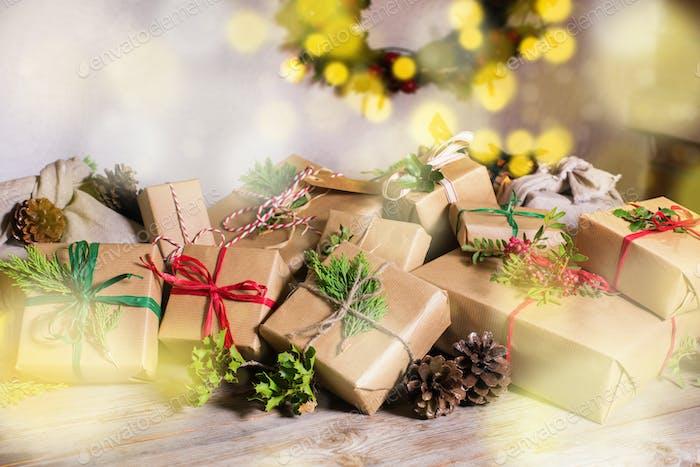 Creative zero waste Christmas concept, handmade gift boxes