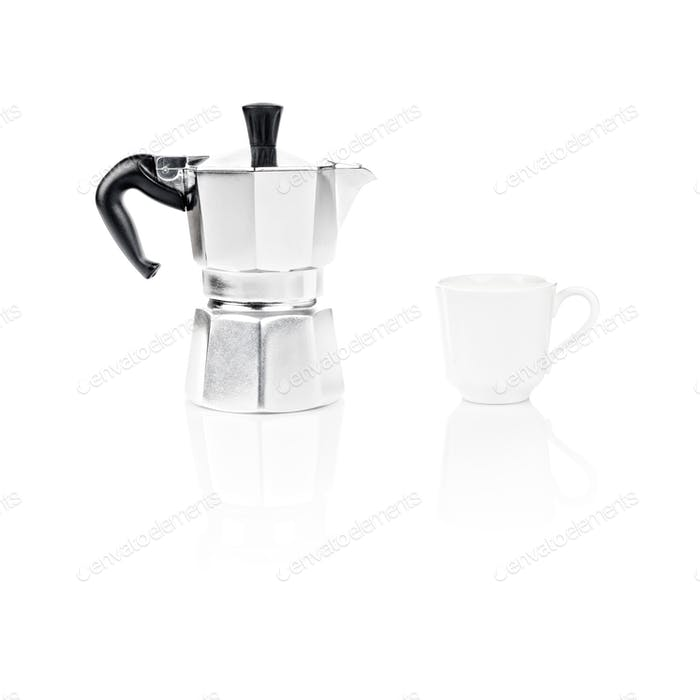 Moka Pot, italian espresso machine coffee maker and a cup