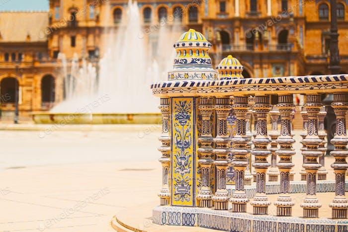 Detail of famous landmark - Plaza de Espana in Seville, Andalusia, Spain. Renaissance Revival style