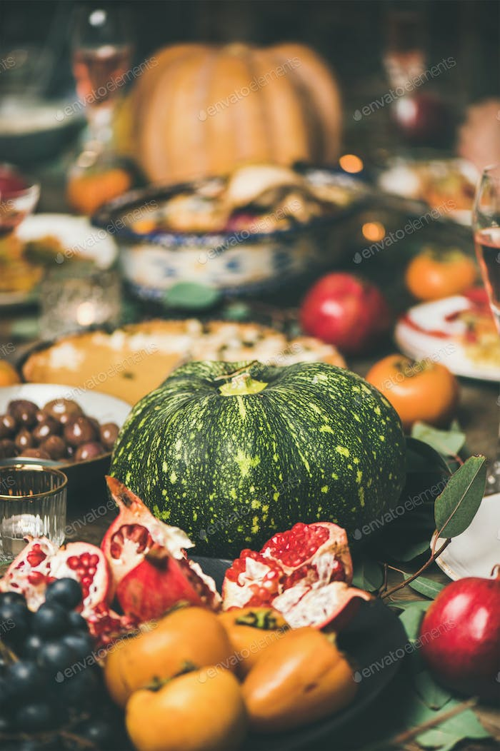 Festive Christmas table with different snacks, selective focus