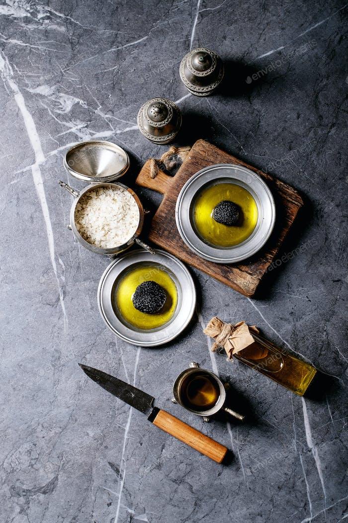 Truffle mushroom with oil