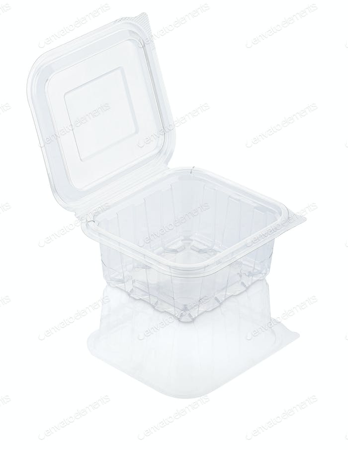 Empty open transparent plastic food container isolated on white with clipping path
