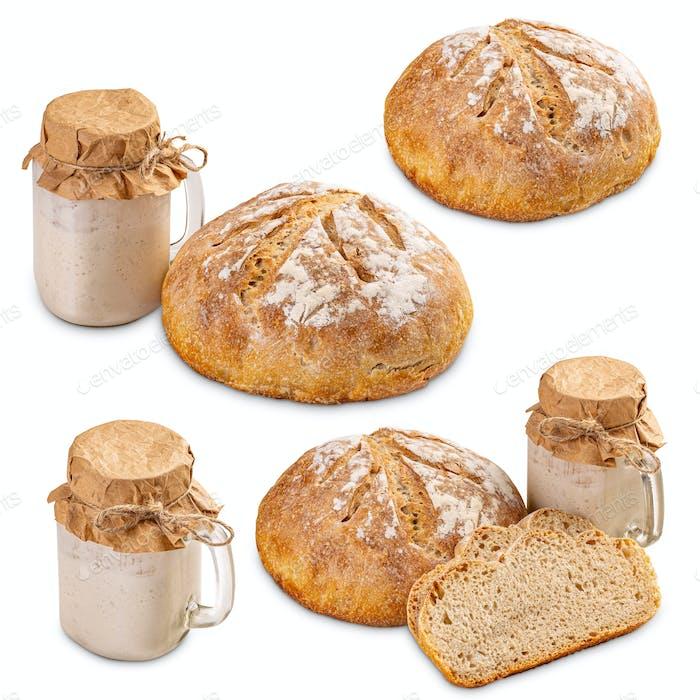 Set von frisch gebackenem Brot