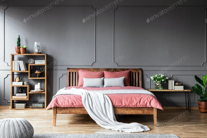 Grey and pink bedroom interior