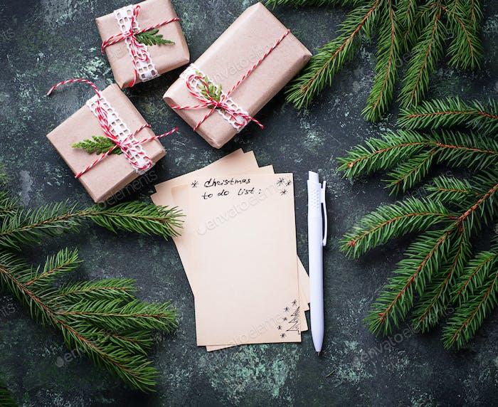 Weihnachten zu tun Liste. Draufsicht.