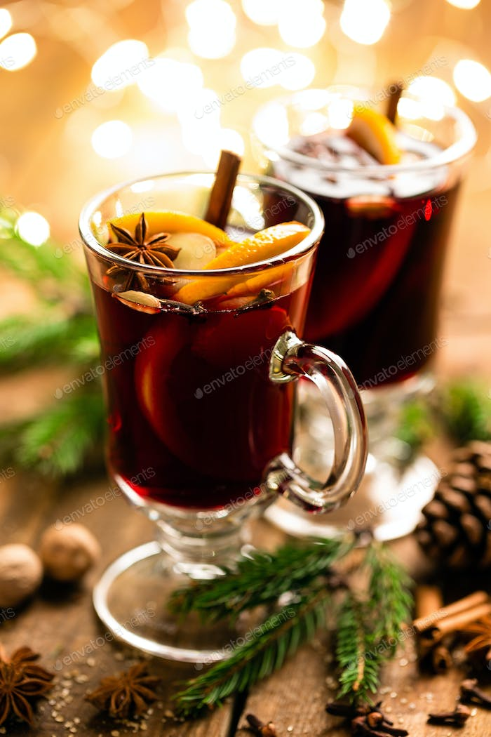 Christmas mulled red wine with spices and oranges
