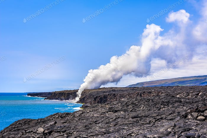 Rising volcanic steam