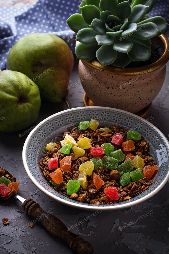 Granola with candied fruit, pears and succulent