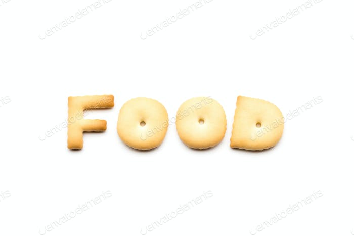 Word food cookies isolated on white background