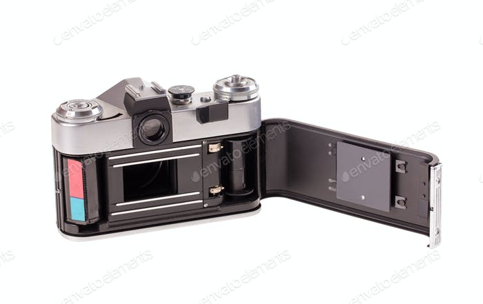 Old metal photo camera.