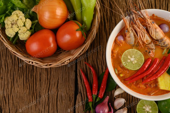 Tom Yum Kung Thai hot spicy soup shrimp with lemon grass,lemon,galangal and chilli Thailand Food.