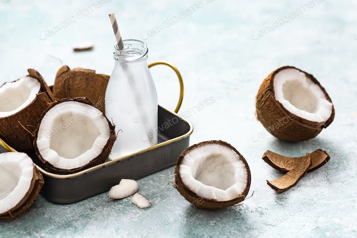 Refreshing coconut water in a small bottle