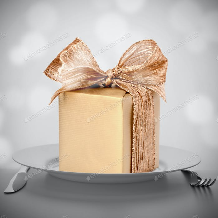 Luxurious gift on plate.
