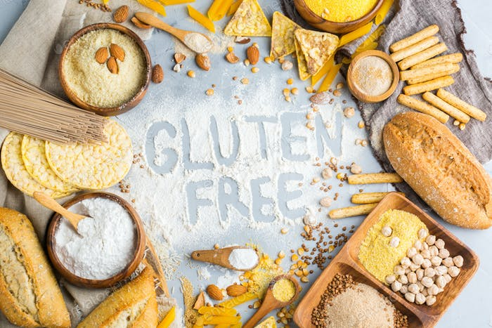 Gluten free food and flour, almond, corn, rice, chickpea