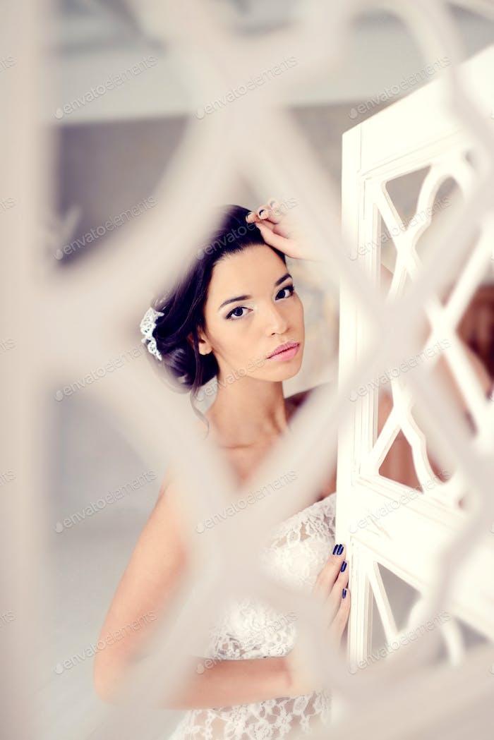 Beautiful girl in white lingerie