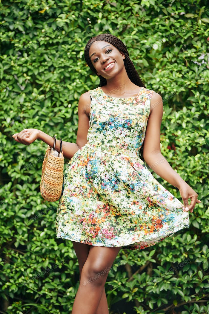 Charming Black Woman Outdoors