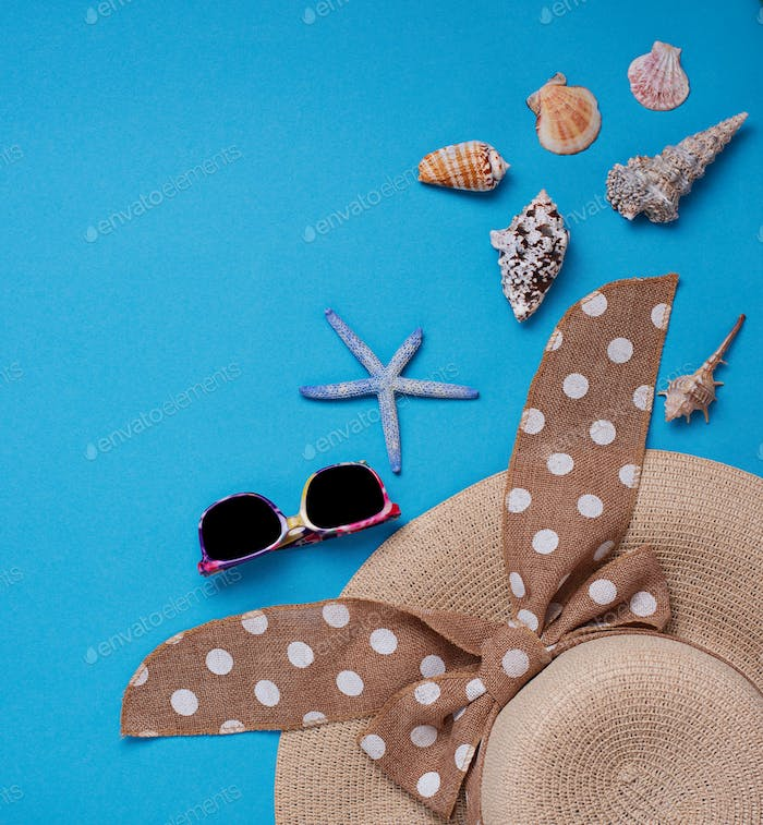 Straw  hat and seashells on blue background