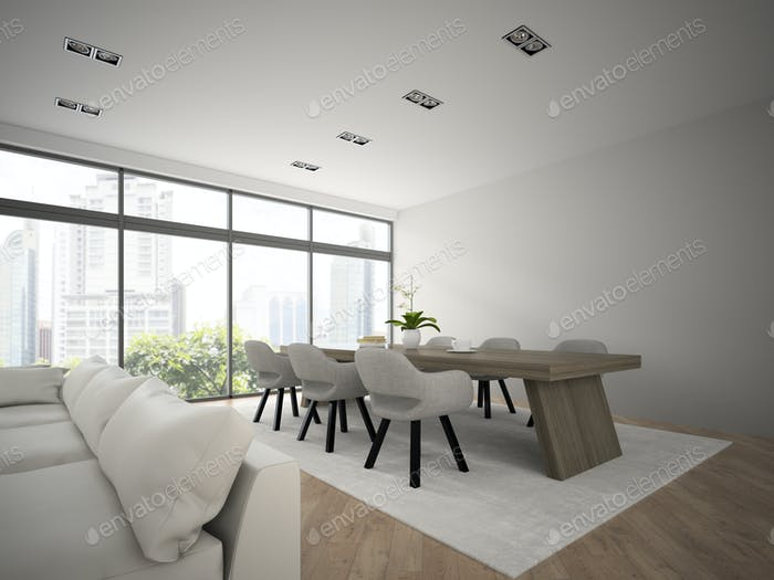 Interior of modern design loft with big table 3D rendering 2