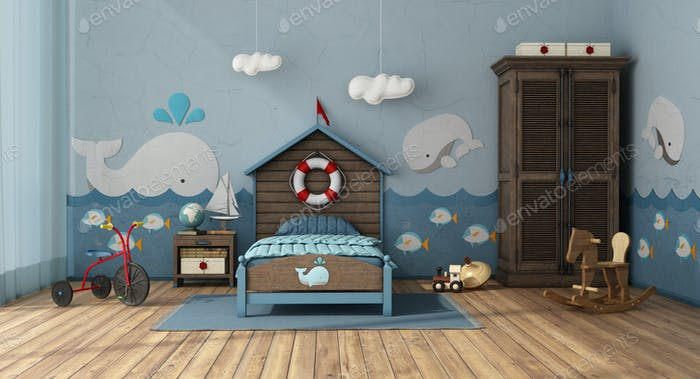 Retro style kids room in marine style with toys