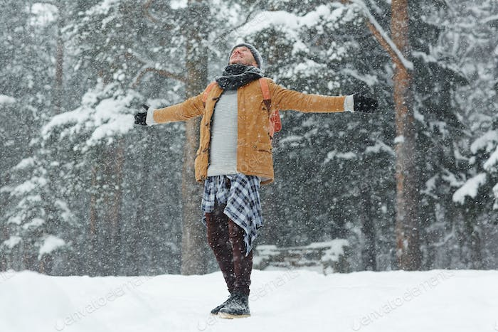 Free man excited about winter weather