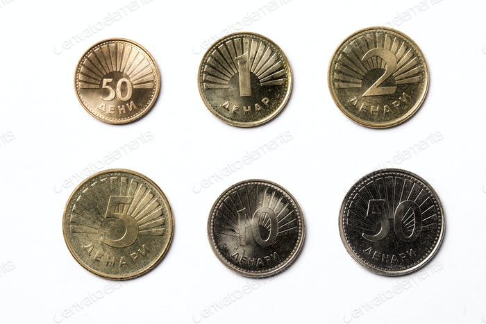 Macedonian coins on a white background