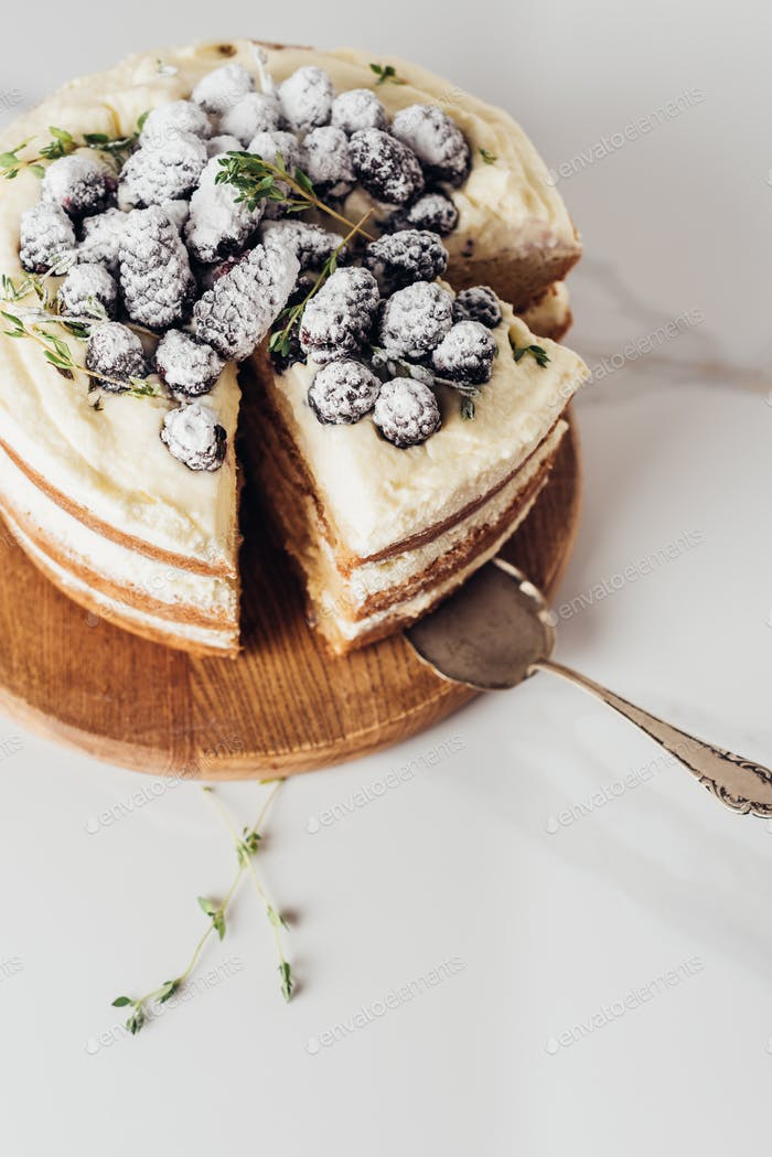 close-up shot of tasty sliced blackberry cake on wooden cutting board with cake server