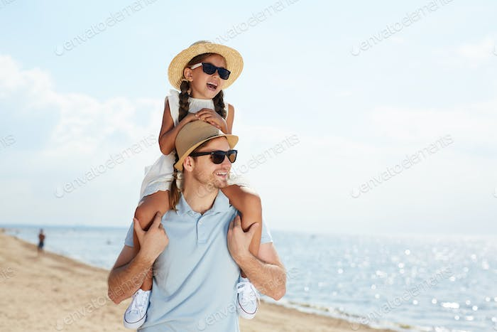 Father and Child Enjoying Vacation