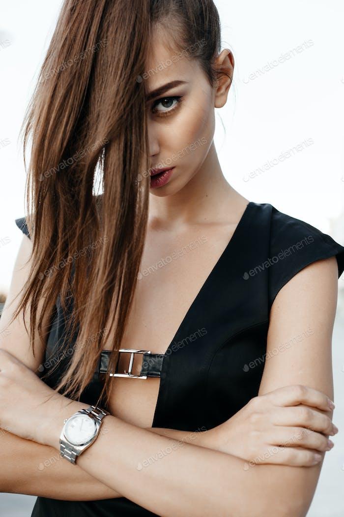 portrait of fashion female model on the street