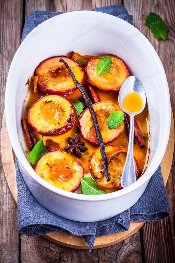 Baked nectarines with  mint