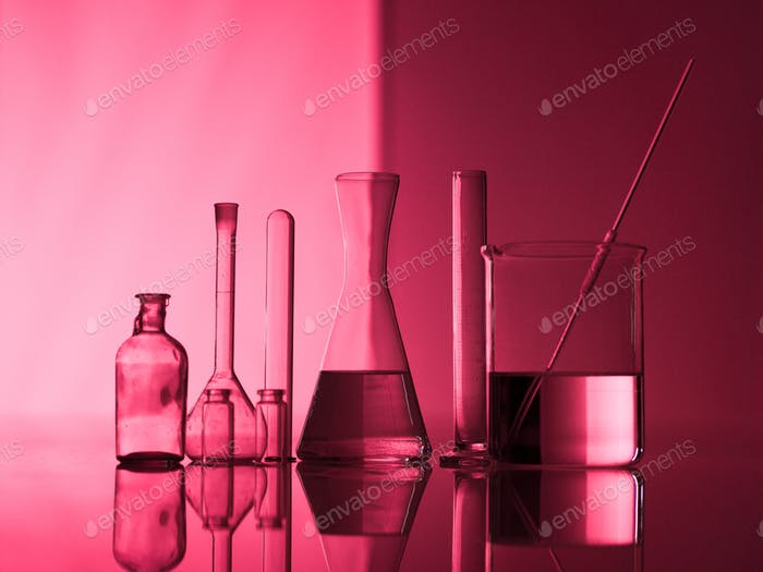 Group of experimental glassware on a table