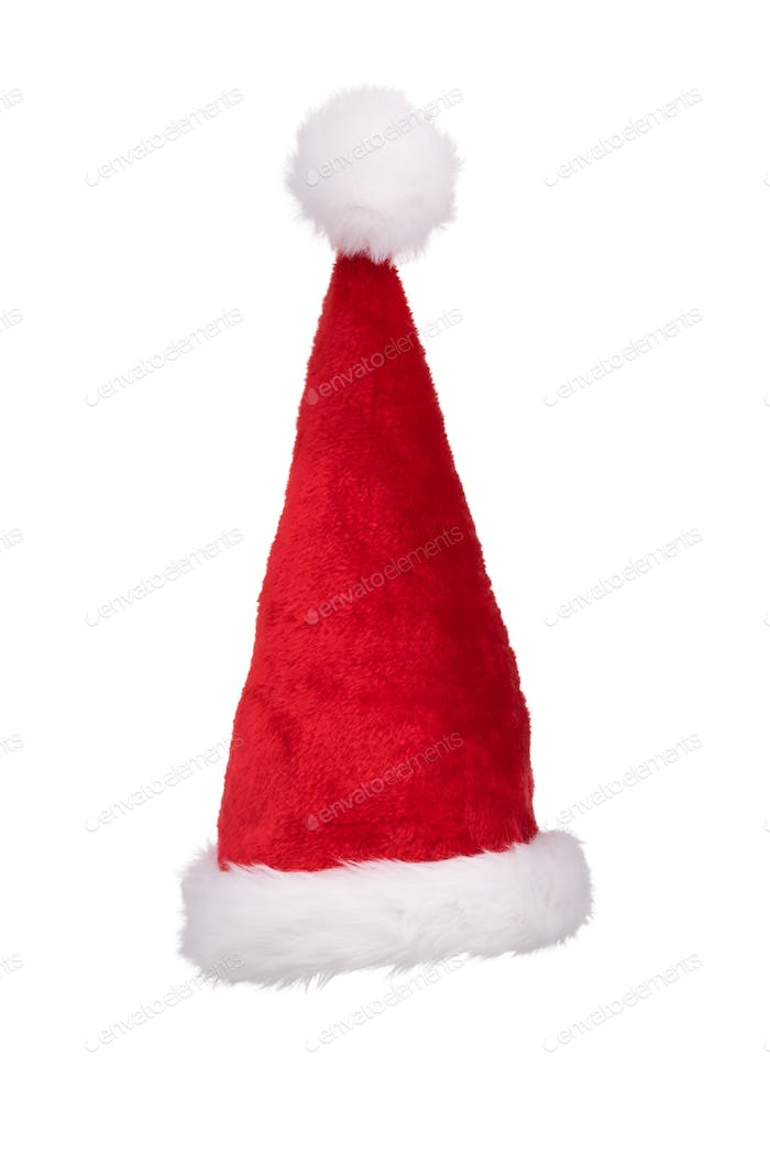 Santa's hat standing straight isolated on pure white background