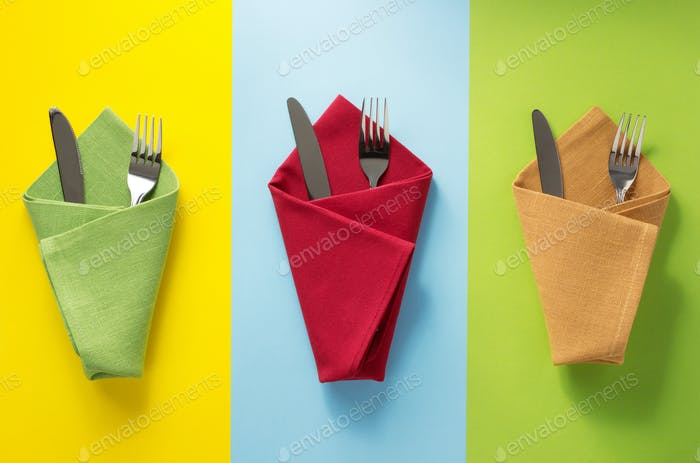 knife and fork at napkin