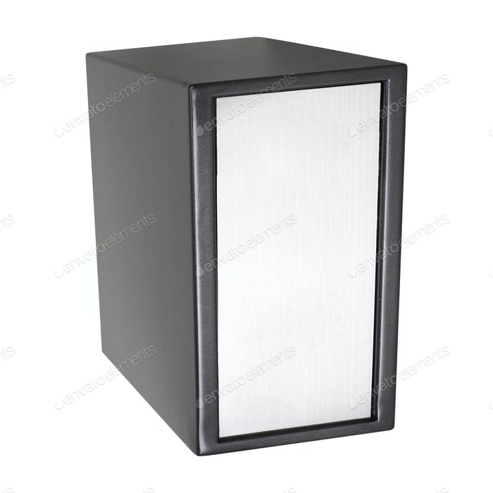 The metal safe on a white
