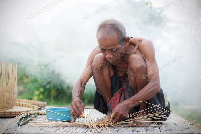 Older people with basketry