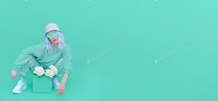 Fresh Mint fashion Girl 90s. Monochrome color trends. Aqua Menthe aesthetic