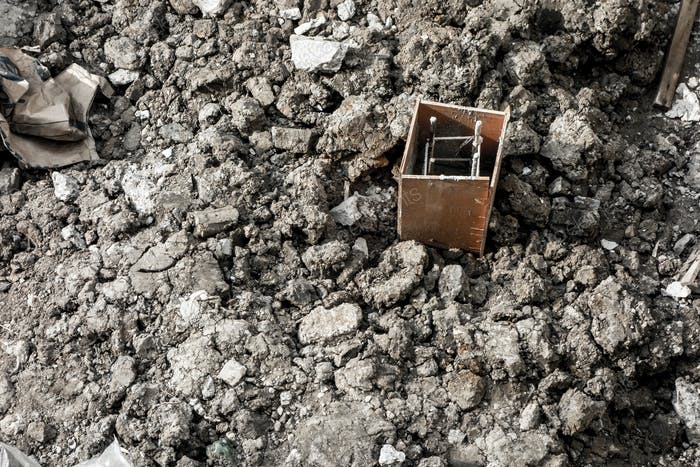 Steel rod block on dirt