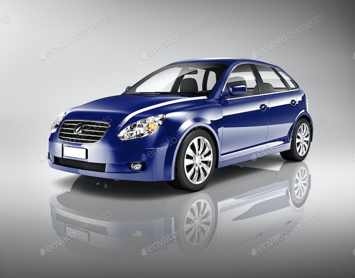 Three-Dimensional Shape Blue Sedan Studio Shot